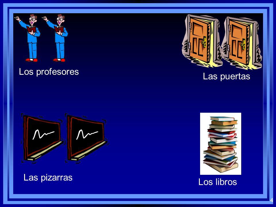 4 Los profesores Las puertas Las pizarras Los libros