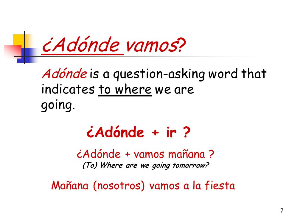 6 El Presente del Verbo IR The verb ir is generally followed by the preposition a (or the contraction al): Yo Tú Usted, él, ella Nosotros, nosotras Vo
