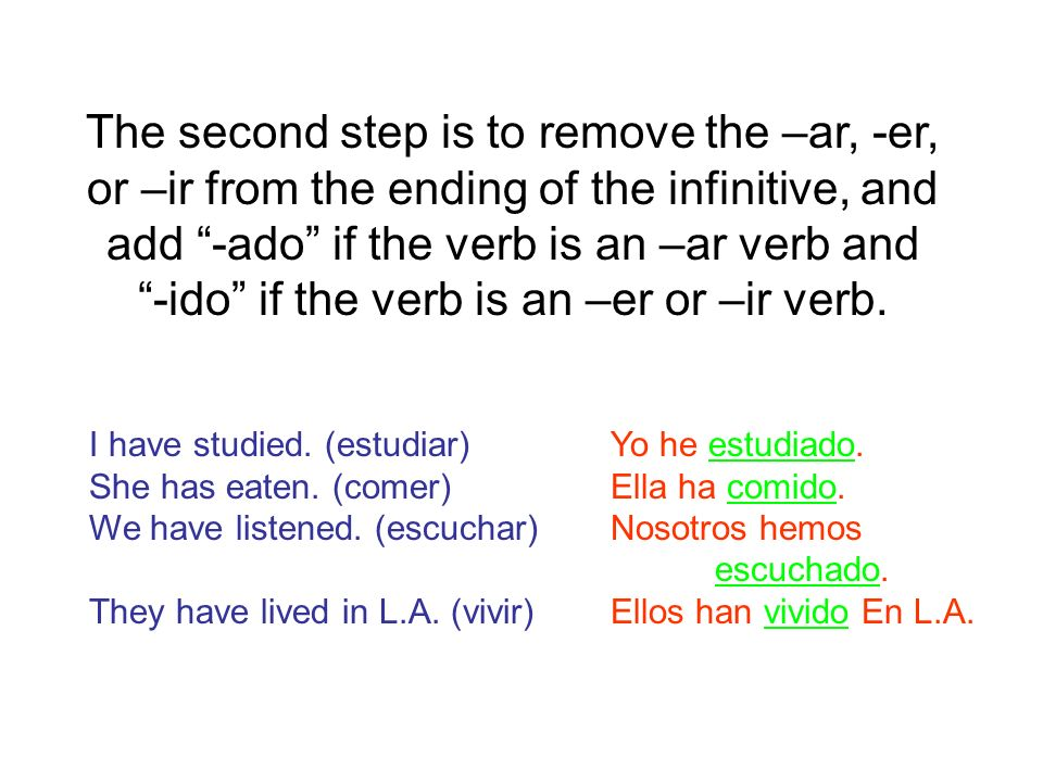 Lets do some examples.Write the correct present perfect form of the given verb.