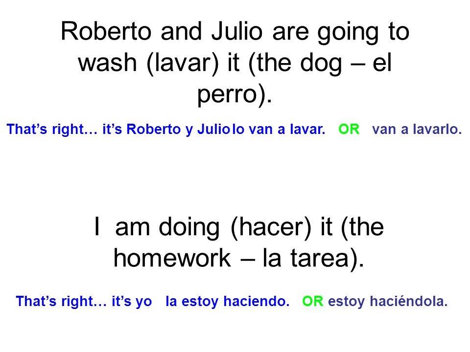 Roberto and Julio are going to wash (lavar) it (the dog – el perro). I am doing (hacer) it (the homework – la tarea). lo van a lavar. OR van a lavarlo