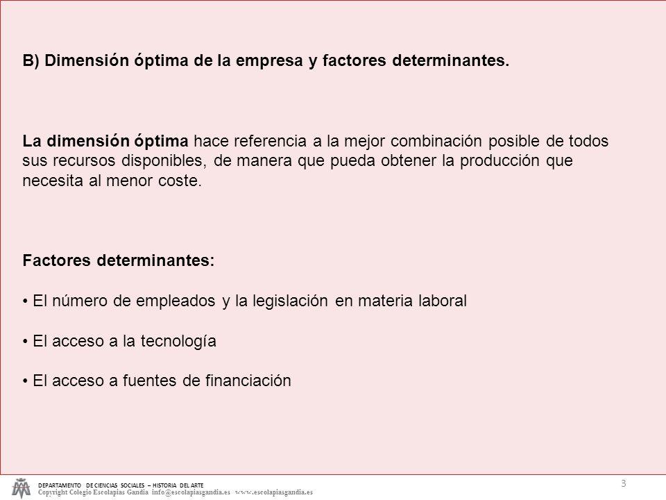 DEPARTAMENTO DE CIENCIAS SOCIALES – HISTORIA DEL ARTE Copyright Colegio Escolapias Gandia info@escolapiasgandia.es www.escolapiasgandia.es 3 B) Dimens