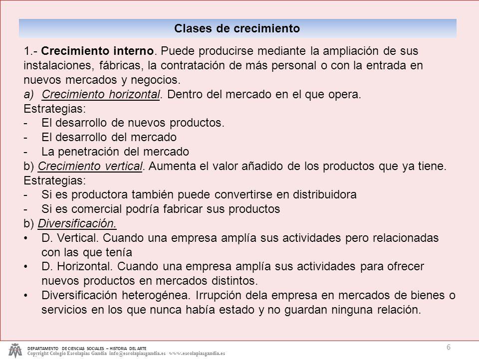 DEPARTAMENTO DE CIENCIAS SOCIALES – HISTORIA DEL ARTE Copyright Colegio Escolapias Gandia info@escolapiasgandia.es www.escolapiasgandia.es 6 Clases de