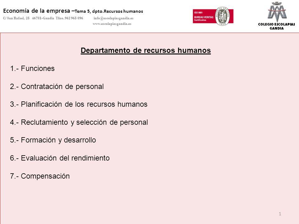 DEPARTAMENTO DE CIENCIAS SOCIALES – Economía de la empresa Copyright Colegio Escolapias Gandia info@escolapiasgandia.es www.escolapiasgandia.es 12