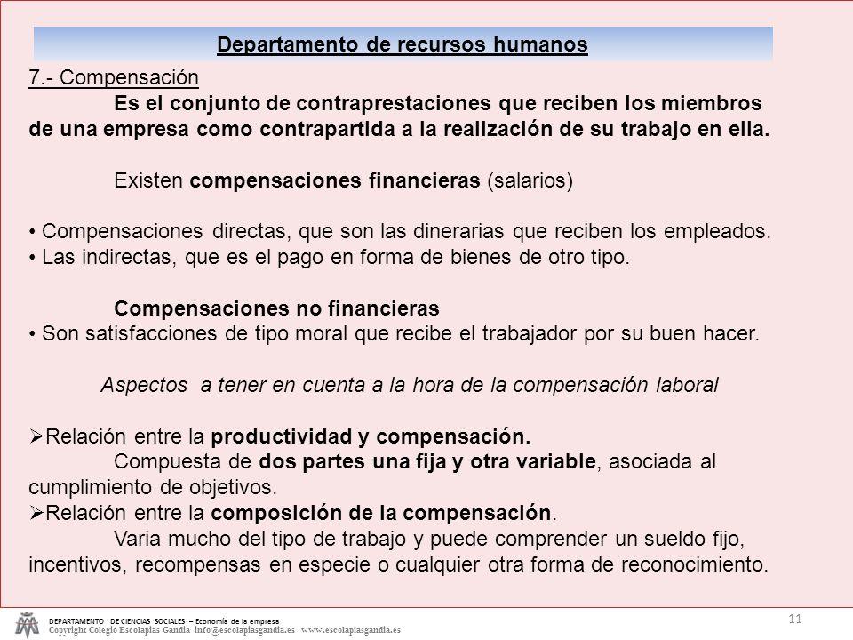 DEPARTAMENTO DE CIENCIAS SOCIALES – Economía de la empresa Copyright Colegio Escolapias Gandia info@escolapiasgandia.es www.escolapiasgandia.es 11 Dep