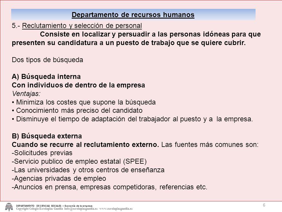 DEPARTAMENTO DE CIENCIAS SOCIALES – Economía de la empresa Copyright Colegio Escolapias Gandia info@escolapiasgandia.es www.escolapiasgandia.es 6 Depa