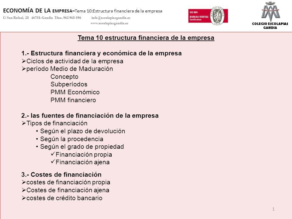 COLEGIO ESCOLAPIAS GANDIA ECONOMÍA DE LA EMPRESA–Tema 10:Estructura financiera de la empresa C/ San Rafael, 25 46701-Gandia Tfno. 962 965 096 info@esc