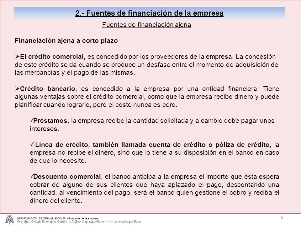 DEPARTAMENTO DE CIENCIAS SOCIALES – Economía de la empresa Copyright Colegio Escolapias Gandia info@escolapiasgandia.es www.escolapiasgandia.es 6 2.-
