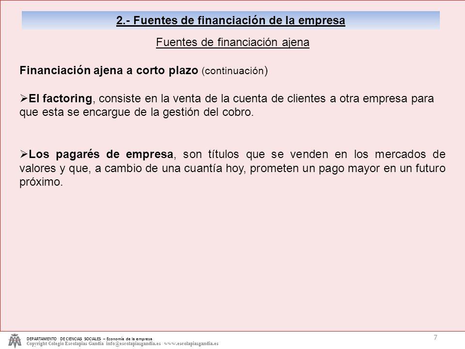 DEPARTAMENTO DE CIENCIAS SOCIALES – Economía de la empresa Copyright Colegio Escolapias Gandia info@escolapiasgandia.es www.escolapiasgandia.es 7 2.-