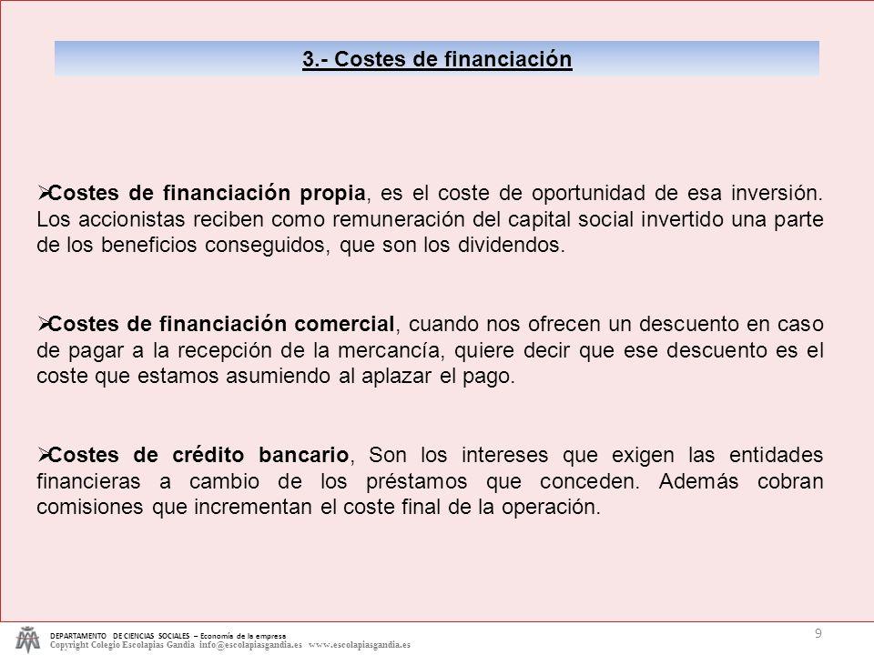 DEPARTAMENTO DE CIENCIAS SOCIALES – Economía de la empresa Copyright Colegio Escolapias Gandia info@escolapiasgandia.es www.escolapiasgandia.es 9 3.-