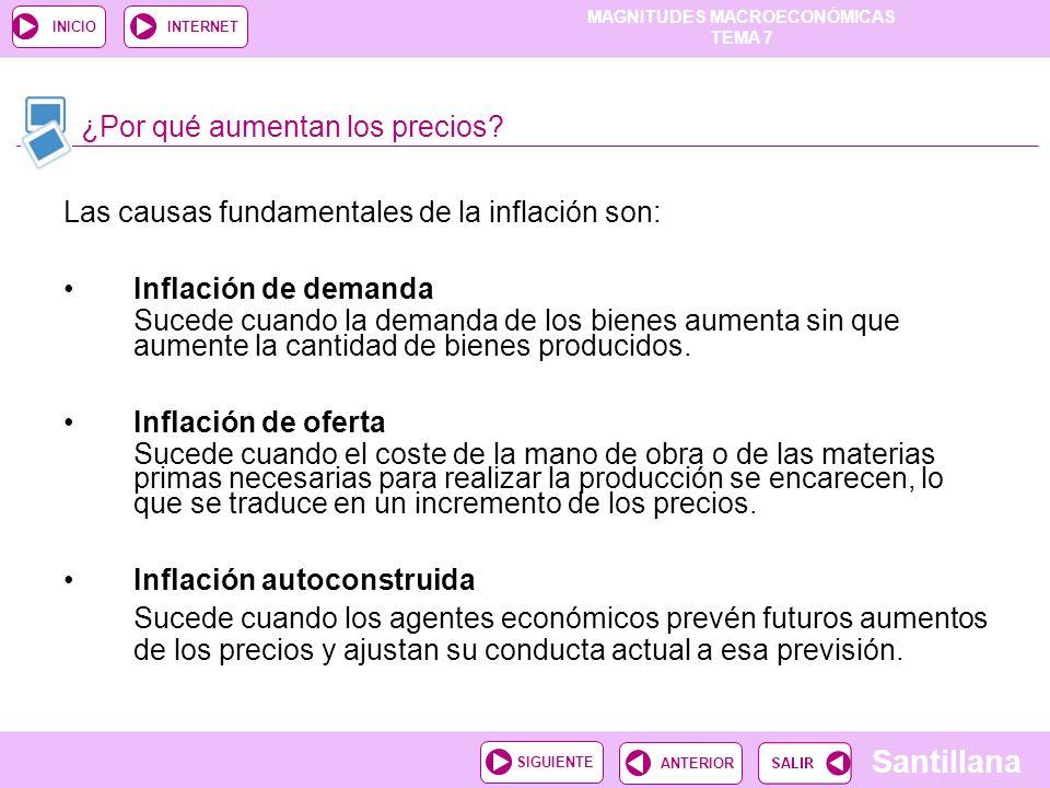 MAGNITUDES MACROECONÓMICAS TEMA 7 Santillana ANTERIORSIGUIENTE INICIOINTERNET Las causas fundamentales de la inflación son: Inflación de demanda Suced