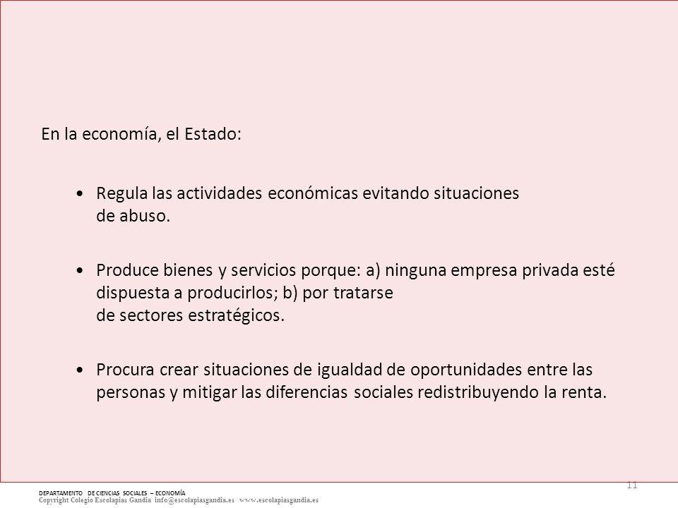 11 DEPARTAMENTO DE CIENCIAS SOCIALES – ECONOMÍA Copyright Colegio Escolapias Gandia info@escolapiasgandia.es www.escolapiasgandia.es En la economía, e