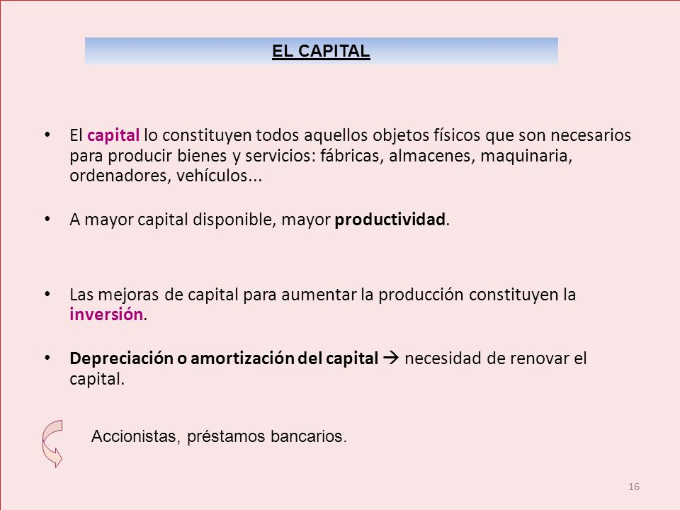 16 El capital lo constituyen todos aquellos objetos físicos que son necesarios para producir bienes y servicios: fábricas, almacenes, maquinaria, orde