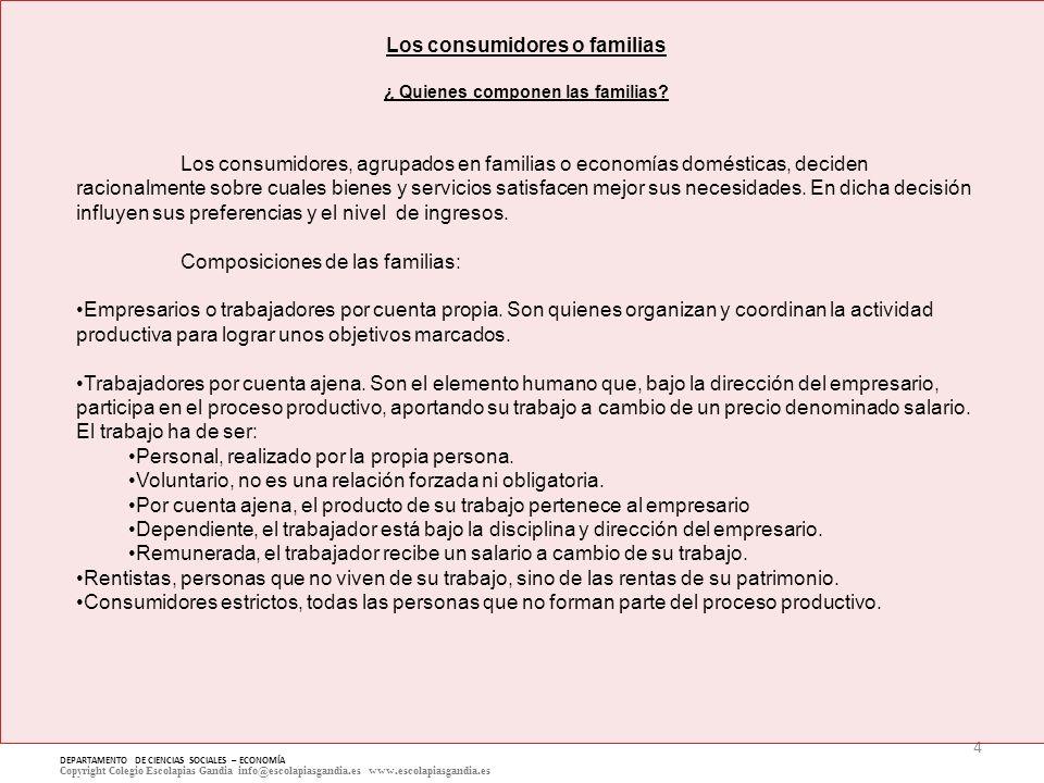 5 DEPARTAMENTO DE CIENCIAS SOCIALES – ECONOMÍA Copyright Colegio Escolapias Gandia info@escolapiasgandia.es www.escolapiasgandia.es Los consumidores o familias ¿ Qué influyen en la decisión de los consumidores.