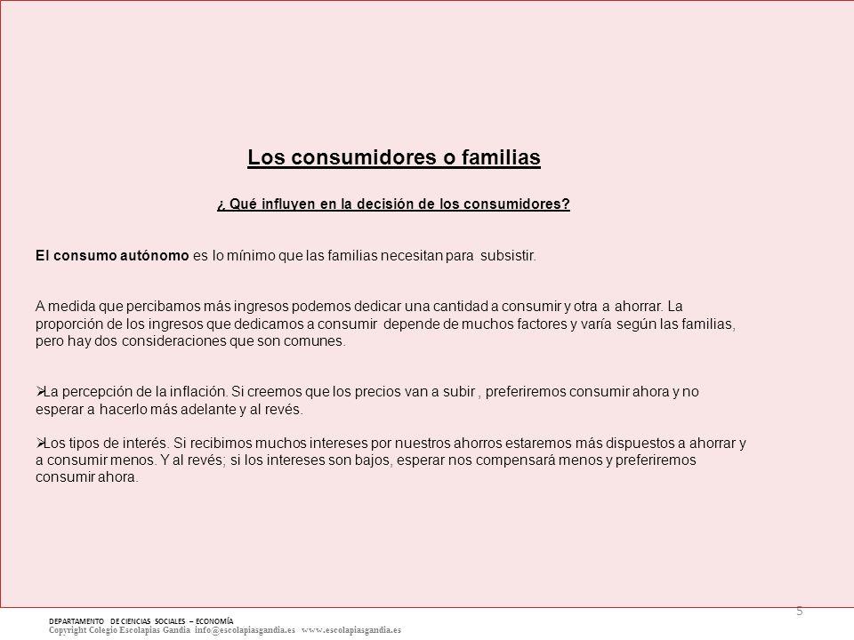 5 DEPARTAMENTO DE CIENCIAS SOCIALES – ECONOMÍA Copyright Colegio Escolapias Gandia info@escolapiasgandia.es www.escolapiasgandia.es Los consumidores o