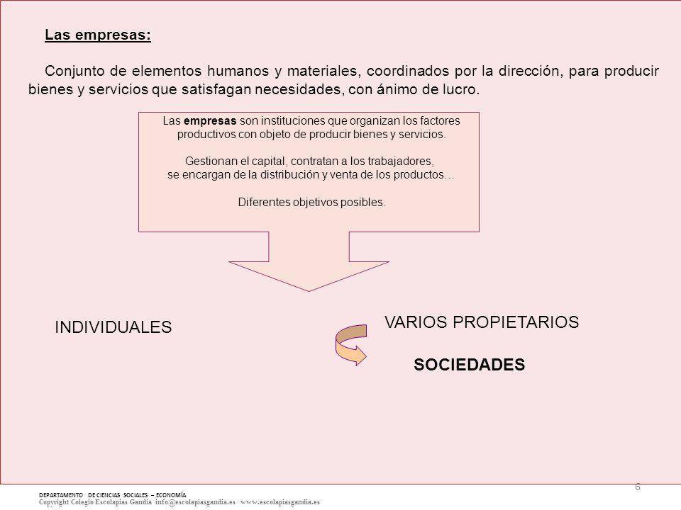 6 DEPARTAMENTO DE CIENCIAS SOCIALES – ECONOMÍA Copyright Colegio Escolapias Gandia info@escolapiasgandia.es www.escolapiasgandia.es Las empresas: Conj