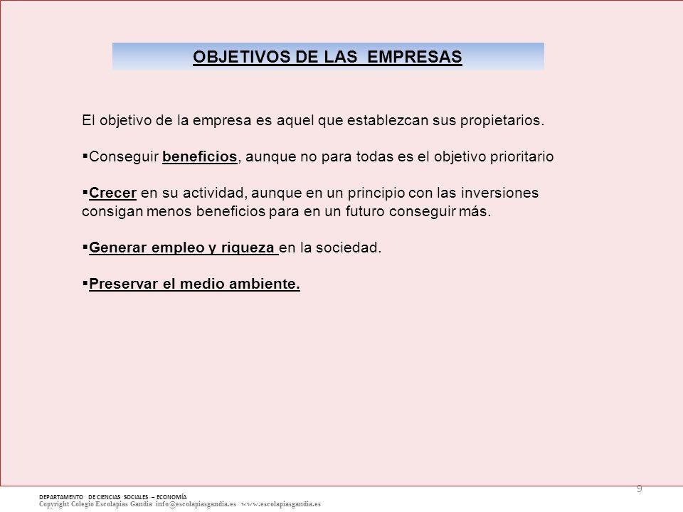 9 DEPARTAMENTO DE CIENCIAS SOCIALES – ECONOMÍA Copyright Colegio Escolapias Gandia info@escolapiasgandia.es www.escolapiasgandia.es OBJETIVOS DE LAS E