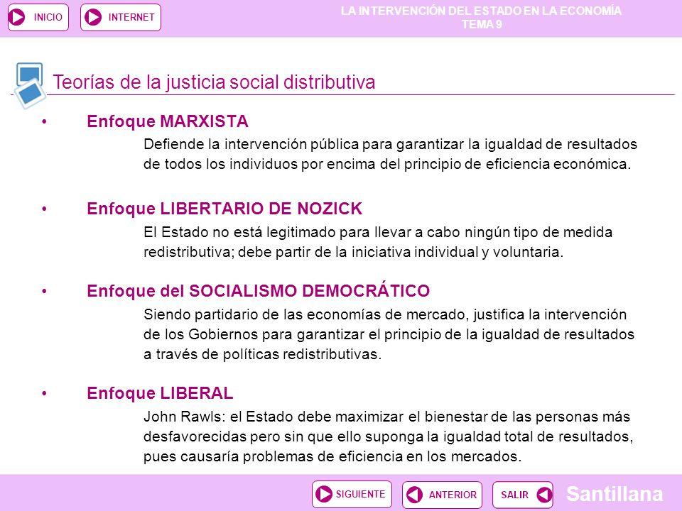 LA INTERVENCIÓN DEL ESTADO EN LA ECONOMÍA TEMA 9 Santillana ANTERIORSIGUIENTE INICIOINTERNET Enfoque MARXISTA Defiende la intervención pública para ga