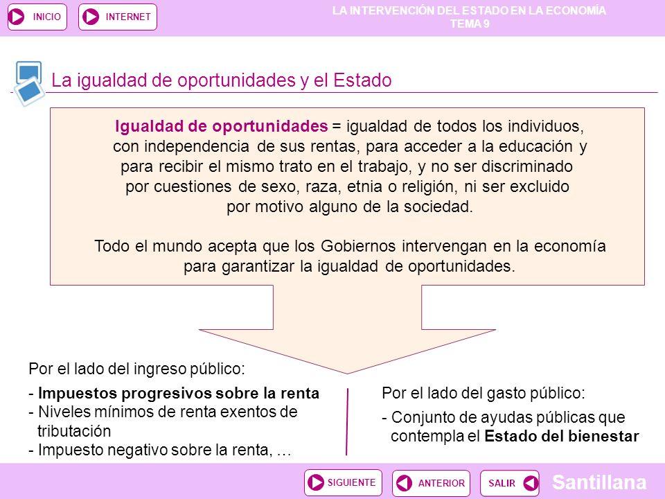 LA INTERVENCIÓN DEL ESTADO EN LA ECONOMÍA TEMA 9 Santillana ANTERIORSIGUIENTE INICIOINTERNET La igualdad de oportunidades y el Estado Igualdad de opor
