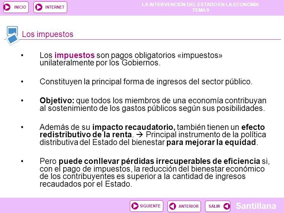 LA INTERVENCIÓN DEL ESTADO EN LA ECONOMÍA TEMA 9 Santillana ANTERIORSIGUIENTE INICIOINTERNET Los impuestos son pagos obligatorios «impuestos» unilater