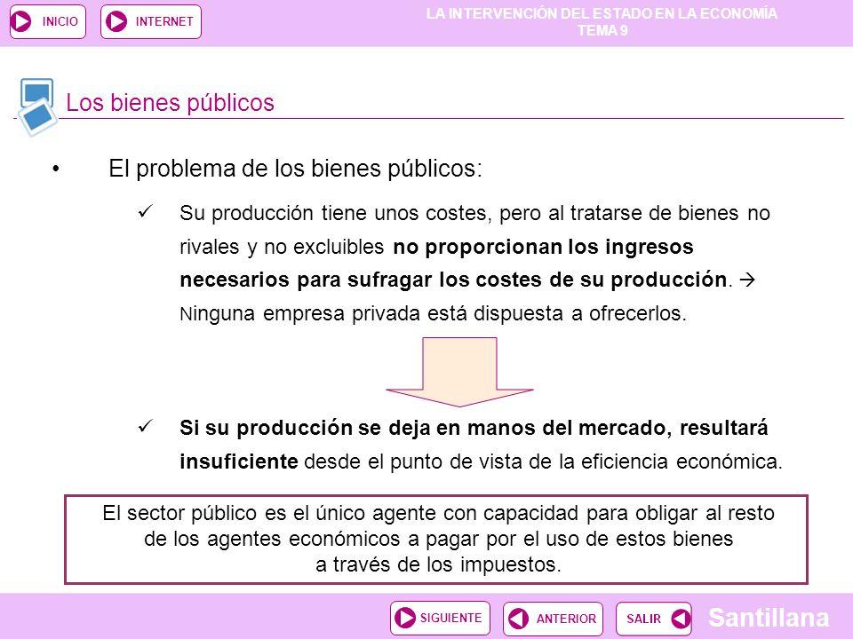 LA INTERVENCIÓN DEL ESTADO EN LA ECONOMÍA TEMA 9 Santillana ANTERIORSIGUIENTE INICIOINTERNET El problema de los bienes públicos: Su producción tiene u