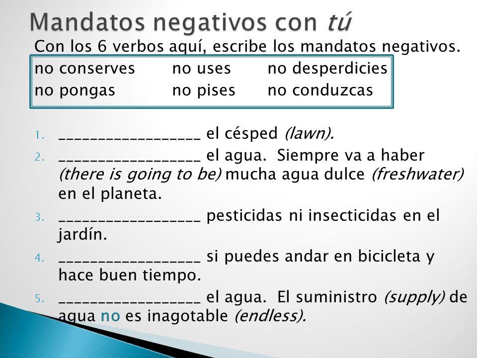 Con los 6 verbos aquí, escribe los mandatos negativos. no conservesno usesno desperdicies no pongasno pisesno conduzcas 1. __________________ el céspe