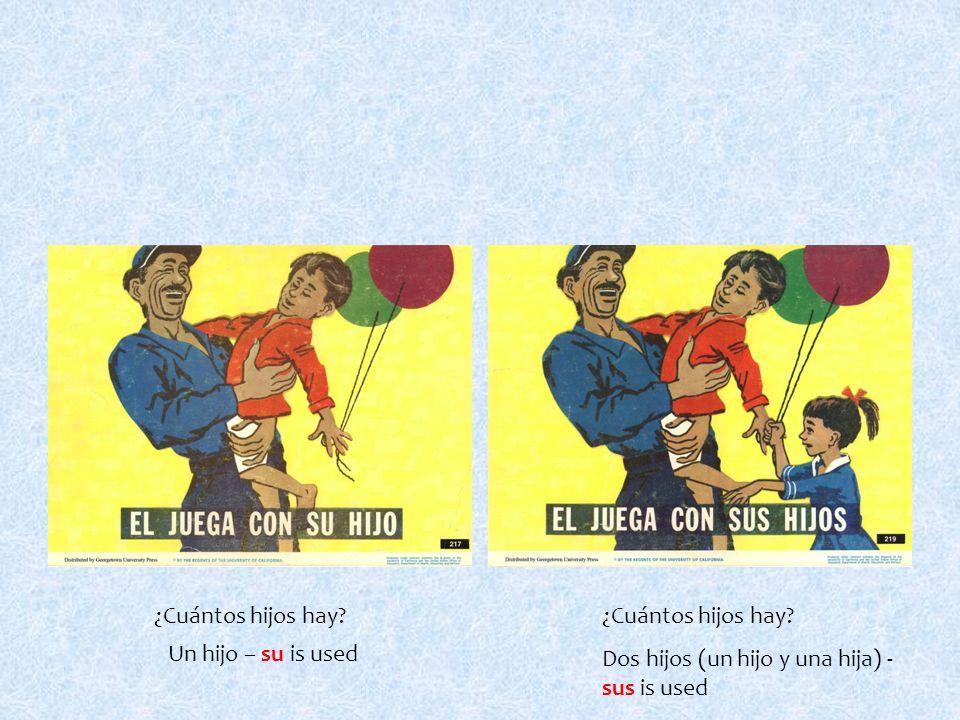 ¿Cuántos hijos hay Un hijo – su is used Dos hijos (un hijo y una hija) - sus is used