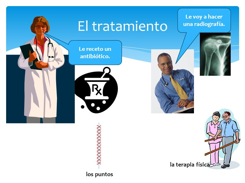 El tratamiento Le receto un antibiótico. Le voy a hacer una radiografía. XXXXXXXXXXXX los puntos la terapia física