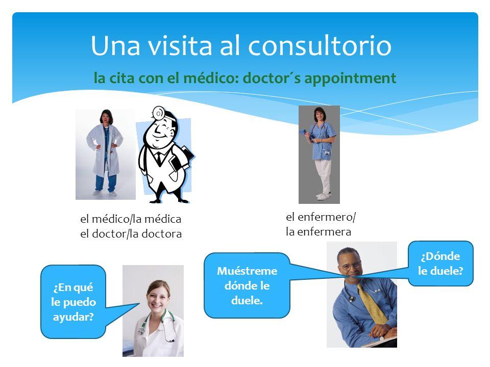 la cita con el médico: doctor´s appointment Una visita al consultorio el médico/la médica el doctor/la doctora el enfermero/ la enfermera ¿En qué le p