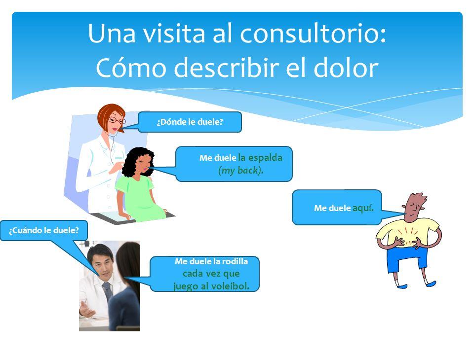 Una visita al consultorio: Cómo describir el dolor ¿Dónde le duele? Me duele la espalda (my back). Me duele aquí. ¿Cuándo le duele? Me duele la rodill