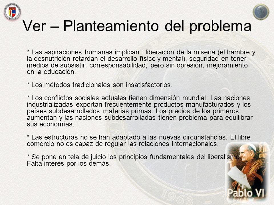 Ver – Planteamiento del problema * Las aspiraciones humanas implican : liberación de la miseria (el hambre y la desnutrición retardan el desarrollo fí