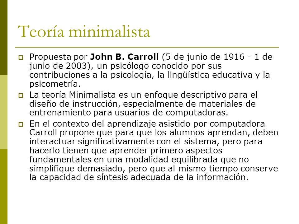 Teoría minimalista Propuesta por John B. Carroll (5 de junio de 1916 - 1 de junio de 2003), un psicólogo conocido por sus contribuciones a la psicolog