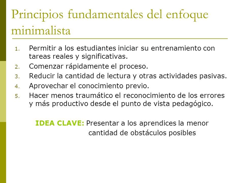 Principios fundamentales del enfoque minimalista 1. Permitir a los estudiantes iniciar su entrenamiento con tareas reales y significativas. 2. Comenza
