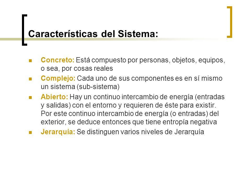 Características del Sistema: Concreto: Está compuesto por personas, objetos, equipos, o sea, por cosas reales Complejo: Cada uno de sus componentes es en sí mismo un sistema (sub-sistema) Abierto: Hay un continuo intercambio de energía (entradas y salidas) con el entorno y requieren de éste para existir.