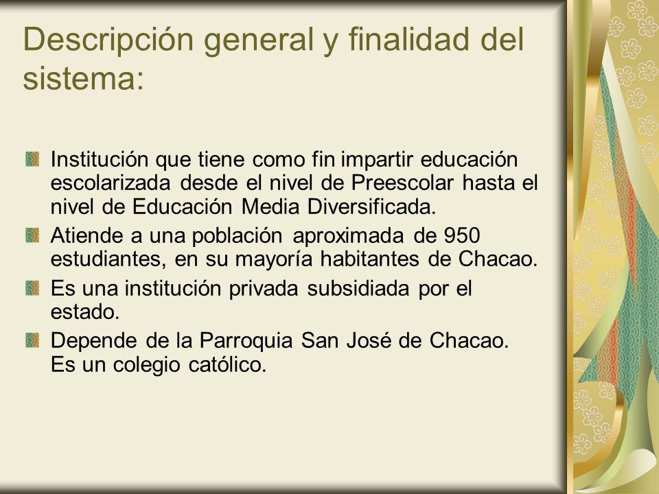 Descripción general y finalidad del sistema: Institución que tiene como fin impartir educación escolarizada desde el nivel de Preescolar hasta el nive