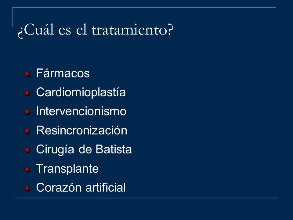 ¿Cuál es el tratamiento? Fármacos Cardiomioplastía Intervencionismo Resincronización Cirugía de Batista Transplante Corazón artificial