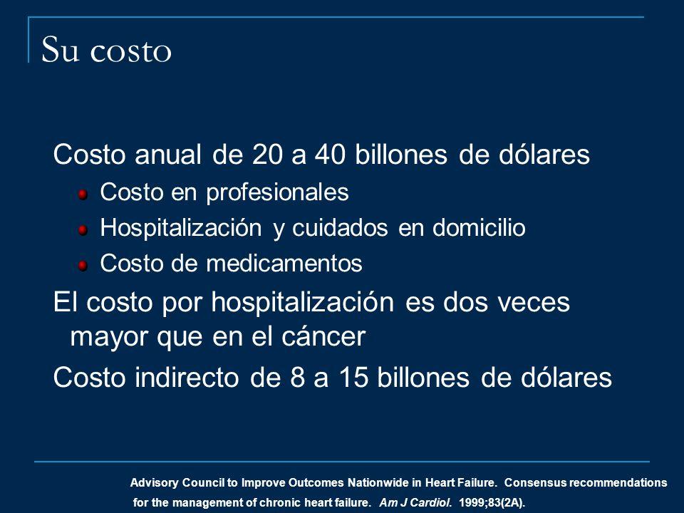 Costo anual de 20 a 40 billones de dólares Costo en profesionales Hospitalización y cuidados en domicilio Costo de medicamentos El costo por hospitali
