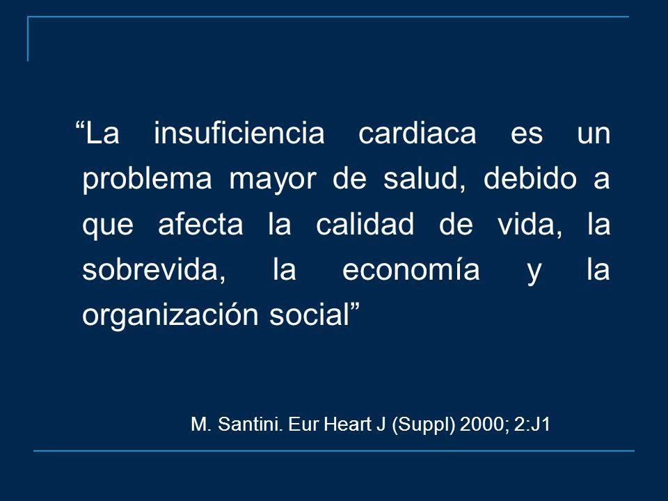 La insuficiencia cardiaca es un problema mayor de salud, debido a que afecta la calidad de vida, la sobrevida, la economía y la organización social M.