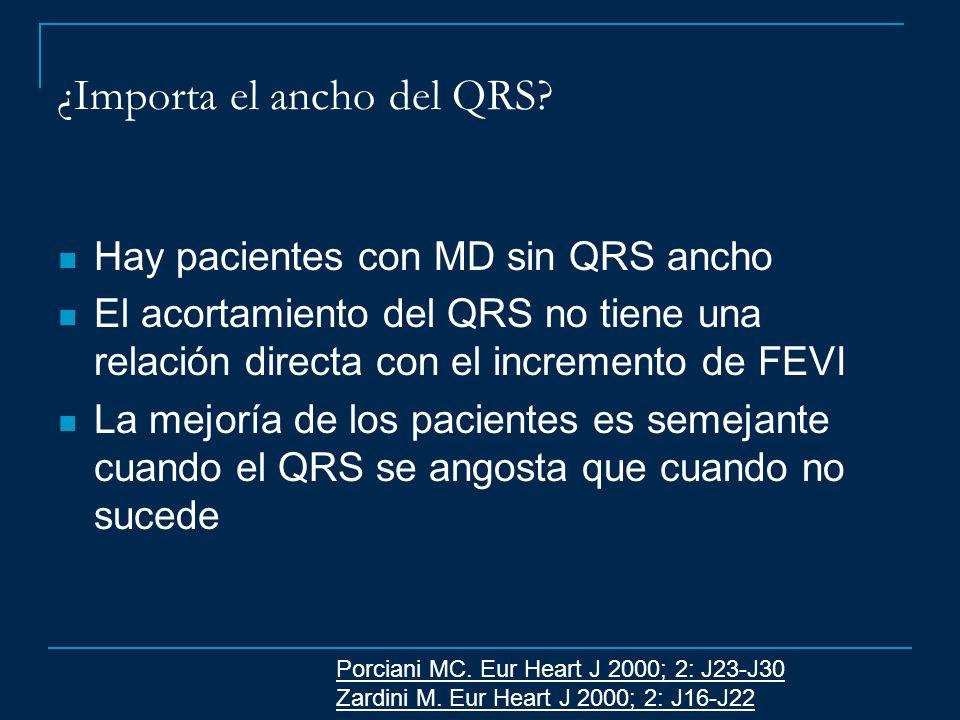 ¿Importa el ancho del QRS? Hay pacientes con MD sin QRS ancho El acortamiento del QRS no tiene una relación directa con el incremento de FEVI La mejor