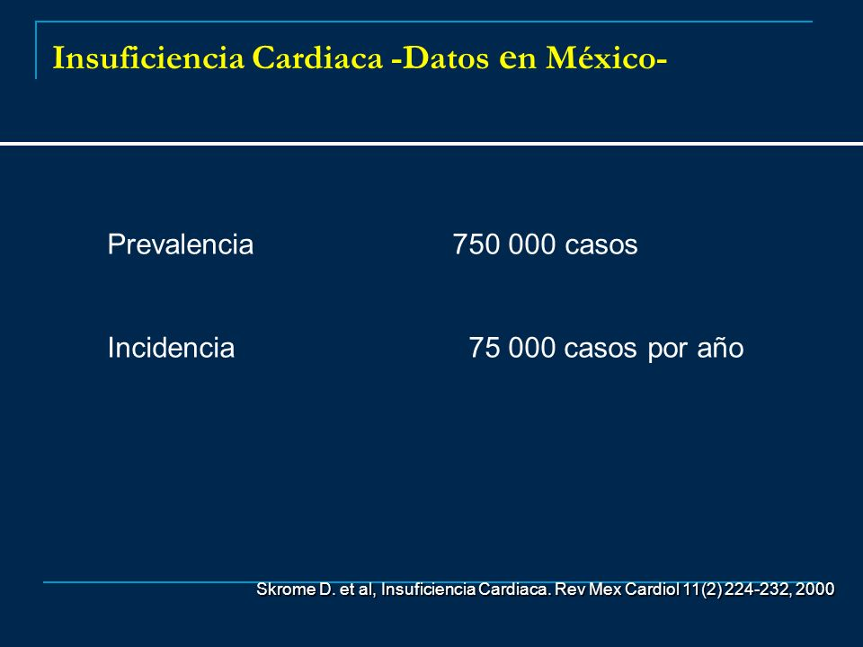 Insuficiencia Cardiaca -Datos e n México- Prevalencia 750 000 casos Incidencia 75 000 casos por año Skrome D. et al, Insuficiencia Cardiaca. Rev Mex C