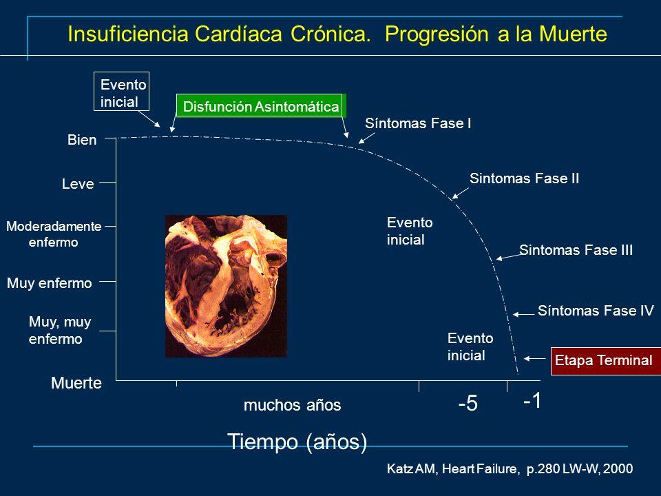 Insuficiencia Cardíaca Crónica. Progresión a la Muerte Tiempo (años) Síntomas Fase I Sintomas Fase II Sintomas Fase III Síntomas Fase IV Muerte Muy, m