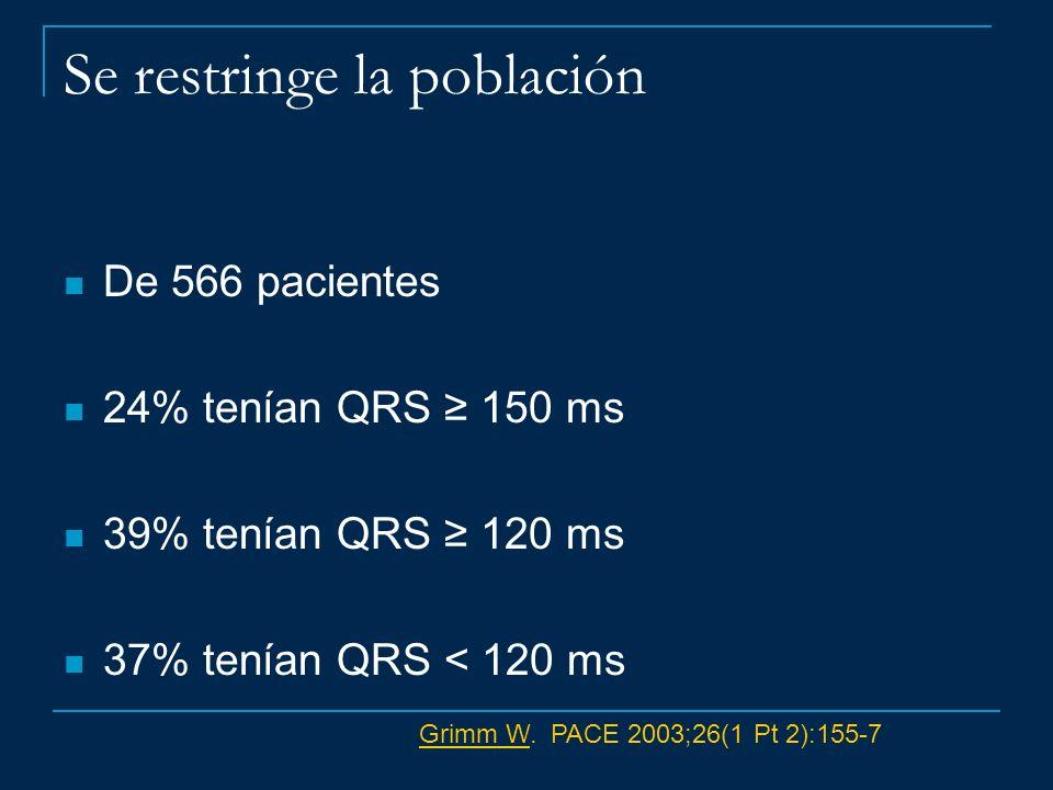 Se restringe la población De 566 pacientes 24% tenían QRS 150 ms 39% tenían QRS 120 ms 37% tenían QRS < 120 ms Grimm WGrimm W. PACE 2003;26(1 Pt 2):15