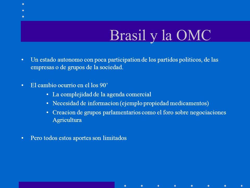 Brasil y la OMC Un estado autonomo con poca participation de los partidos politicos, de las empresas o de grupos de la sociedad. El cambio ocurrio en