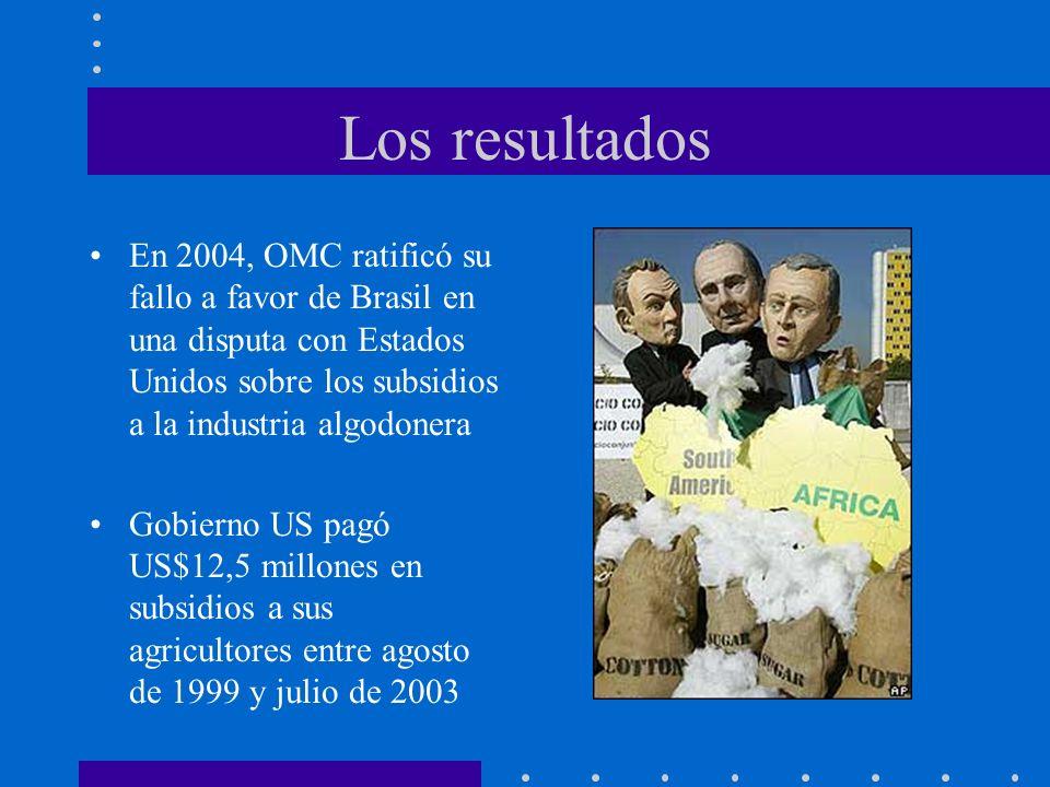 Los resultados En 2004, OMC ratificó su fallo a favor de Brasil en una disputa con Estados Unidos sobre los subsidios a la industria algodonera Gobier