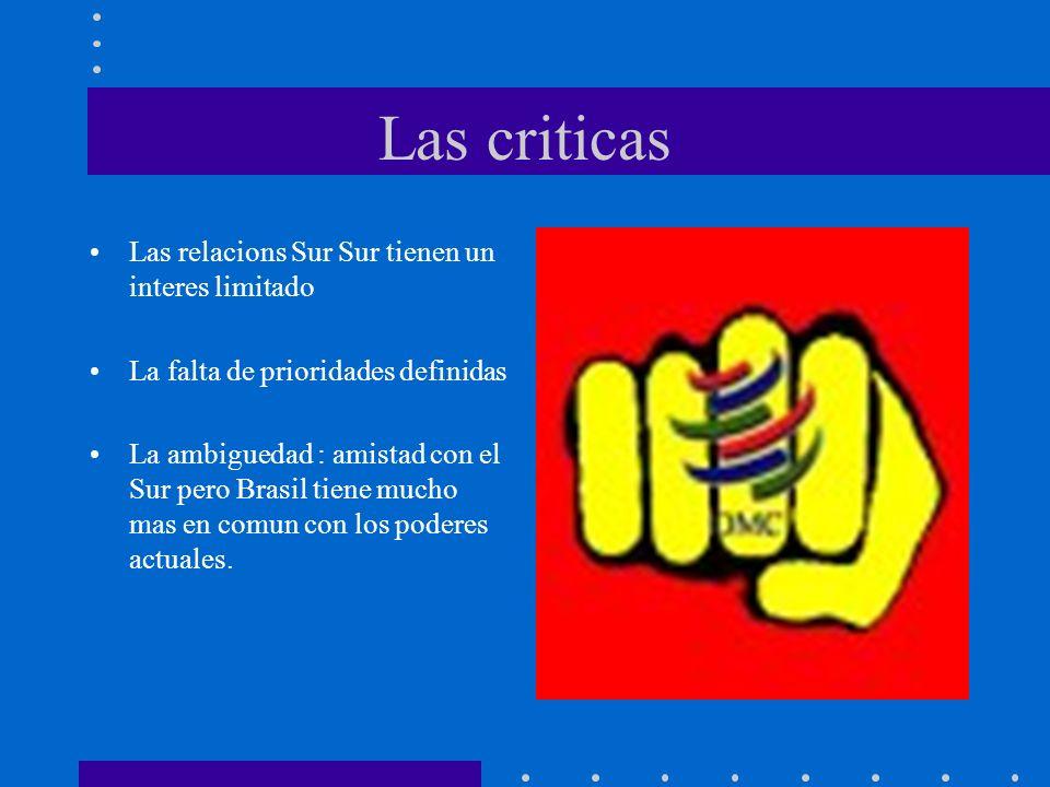 Las criticas Las relacions Sur Sur tienen un interes limitado La falta de prioridades definidas La ambiguedad : amistad con el Sur pero Brasil tiene m