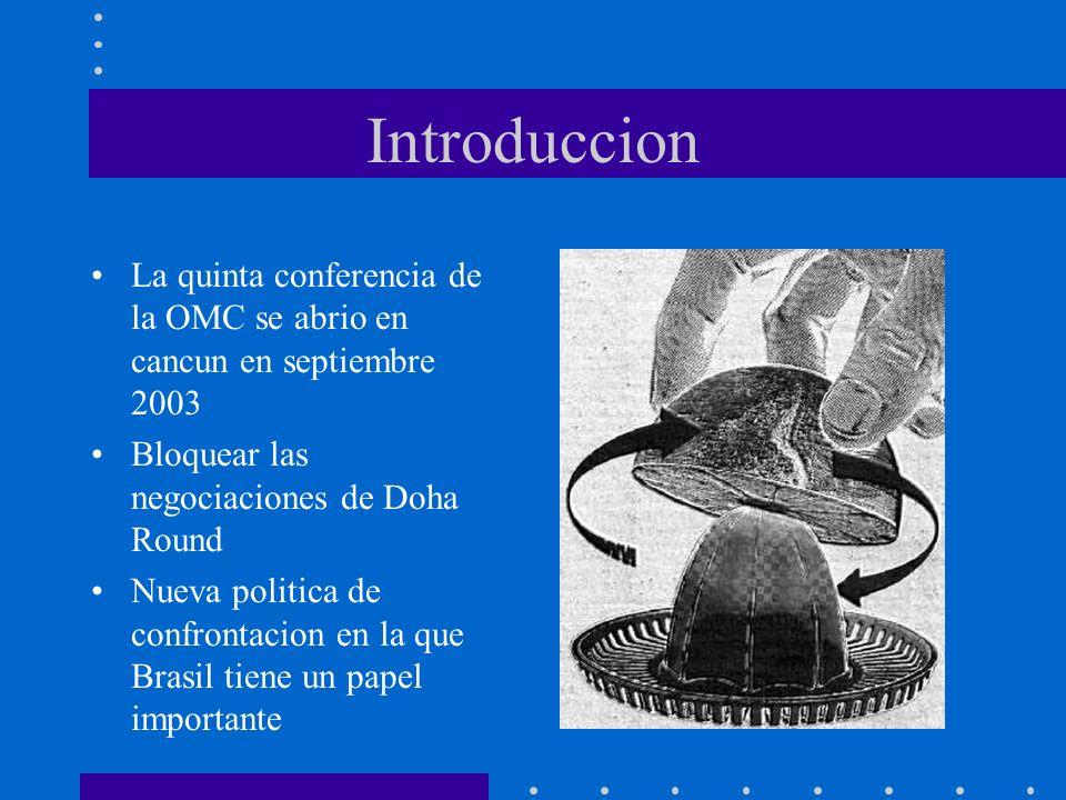 Introduccion La quinta conferencia de la OMC se abrio en cancun en septiembre 2003 Bloquear las negociaciones de Doha Round Nueva politica de confront