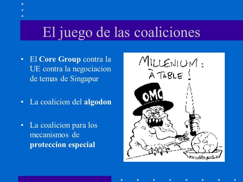 El juego de las coaliciones El Core Group contra la UE contra la negociacion de temas de Singapur La coalicion del algodon La coalicion para los mecan
