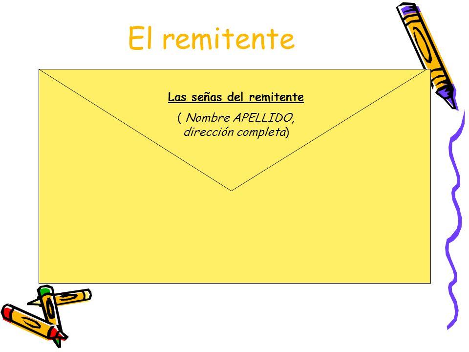 El remitente Las señas del remitente ( Nombre APELLIDO, dirección completa)