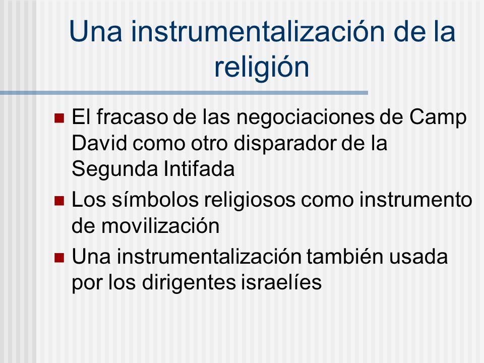 Una instrumentalización de la religión El fracaso de las negociaciones de Camp David como otro disparador de la Segunda Intifada Los símbolos religios
