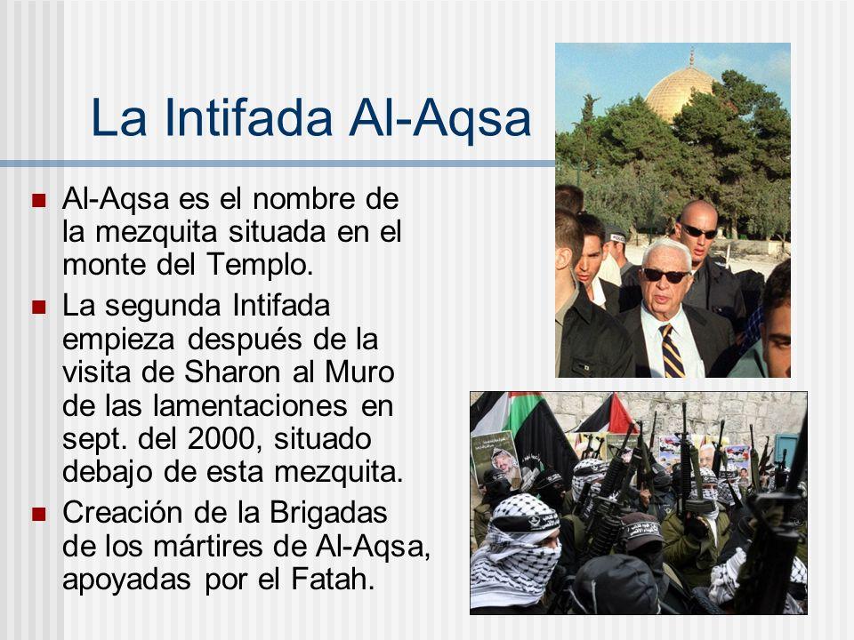 La Intifada Al-Aqsa Al-Aqsa es el nombre de la mezquita situada en el monte del Templo. La segunda Intifada empieza después de la visita de Sharon al
