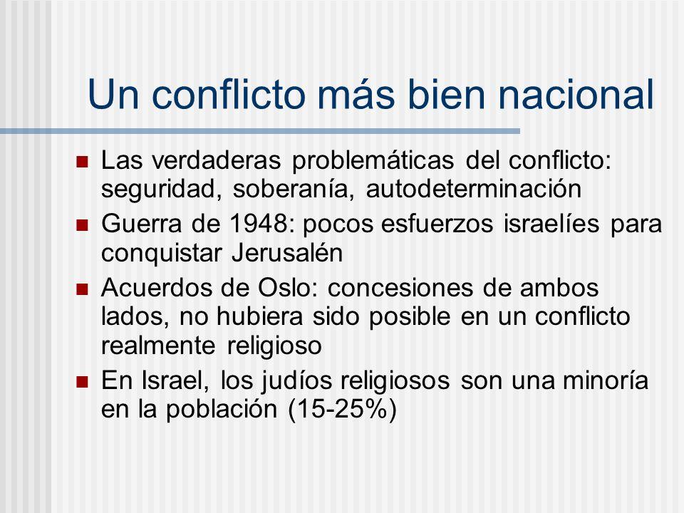 Un conflicto más bien nacional Las verdaderas problemáticas del conflicto: seguridad, soberanía, autodeterminación Guerra de 1948: pocos esfuerzos isr